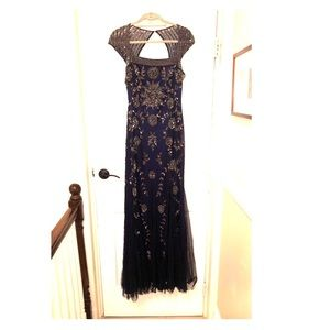adrianna papell navy blue silver sequin gown